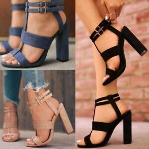 Sexy Women Block Up High Heel Shoes Ladies Ankle T-Strap Buckle Open-Toe Sandals
