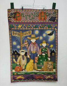 "DEBBIE MUMM HALLOWEEN Vintage Cotton Garden Flag 40"" × 26.5"" EUC"