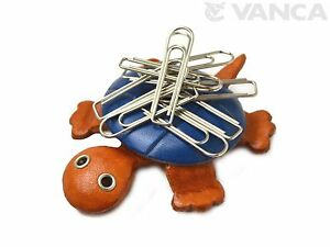 Turtle Handmade Leather Magnet Clip Holder *VANCA* Made in Japan #26254
