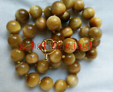 AAA+++ Natural 10mm Gold Tiger's Eye Gemstone Round necklace18''