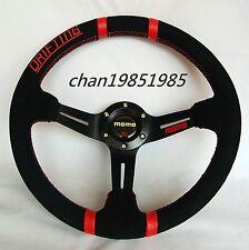 "OEM Drifting 350mm MOMO Suede Deep Dished Steering Wheel 14"" Black (Red Stitch)"
