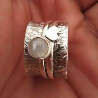 925 Sterling Silver Ring  Meditation Spinner Moonstone Wide Band Ring Jewelry