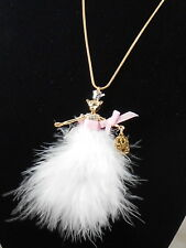 Betsey Johnson Gold MARIE ANTOINETTE Pink Mouse Doll Feather Dress Long Necklace