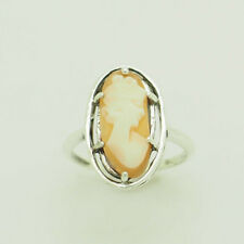 Vintage Solid Sterling Silver/925 Oval Cameo Cocktail Ring 6