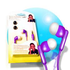IN EAR STEREO Kopfhörer 3,5mm Klinke Stereokopfhörer + 4 Silikon Ohrstöpsel lila