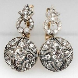2.10 CT Old Cut Diamond Vintage 14K White Gold FN Art Deco Dangle Earring 925 SS