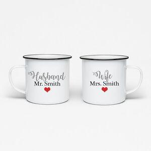 SET OF 2 MUGS PERSONALISED MR & MRS HUSBAND WIFE ENAMEL MUG TEA CUP WEDDING GIFT