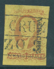 More details for mexico 1861 sg12 4r dull rose on yellow - overprint district fine used. cat £55