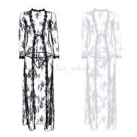 Women Vintage Lace Robe Sleepwear Nightgown Long Dress Floral G-string Maxi Dres