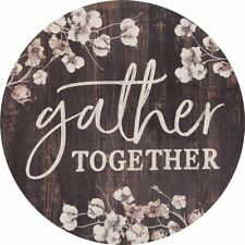 Gather Together Cotton Blossom 17 Inch Wood Barrel Top Wall Plaque Sign