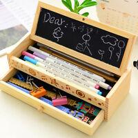 Kids Student Wooden Pen Pencil Case Holder Stationery Box Wood Storage 2 L UKPL