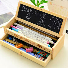 Wooden Kids Student Pen Pencil Case Holder Stationery Box Wood Storage 2 Layers