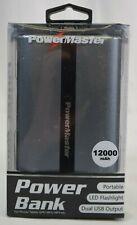 Power Bank Powermaster 12000mah LED Flashlight Dual USB Charger Gray/Black - New