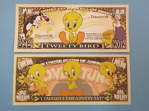 TWEETY BIRD Cartoon Character ~ $1,000,000 One Million Dollars ** Great Gift!