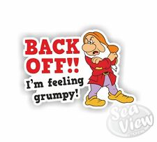 Back off im Feeling Grumpy Car Stickers Decal Funny Sticker Slogan Van Camper