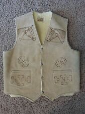 VTG 70's Leather Branded Horse Equestrian Boho Hippy Shearling Mexico Vest