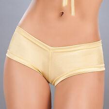 R1i 3009 Hot Metallic Gold Scrunch Booty Mini boy shorts Bikini panties S M L