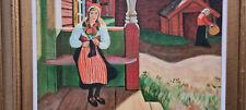 Bild, Ölgemälde, Wandbild, gemalt, handgemalt, Dorf, Frau, Personen
