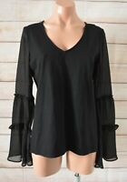 Witchery Tunic Top Blouse Size Small Black Stretch Bell Sleeve Knit
