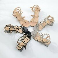 Womens Ladies Ankle Strap Studded Sandals Ladies Rivet Block Heel Shoes Size