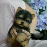 Simulation Toy Dog Realistic Yorkie Dog Puppy Lifelike Stuffed Companion Toy Pet