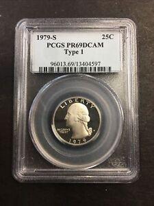 1979-S PCGS PR69DCAM 25C GEORGE WASHINGTON TYPE 1 QUARTER! NO RESERVE! SHINY!