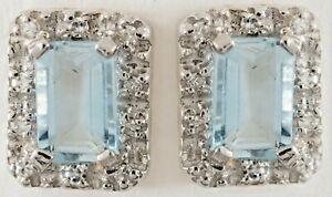 AQUAMARINE & DIAMOND STUD EARRINGS 14K WHITE GOLD