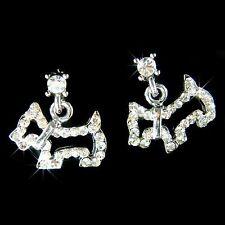 w Swarovski Crystal ~Scottish Terrier~ Scottie Westie Dog Post Earrings Jewelry