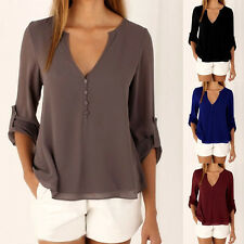 Womens Casual V-Neck Long Sleeve Chiffon Shirt Tunic Tops Blouse Loose Plus Size