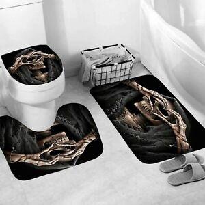 Skull Bathroom Rug Set Shower Curtain Thick Non Slip Toilet Lid Cover Bath Mat