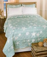 "Aqua Coastal ""Home is Where the Beach is""  Quilt or Embroidered Sheet Set F Q K"