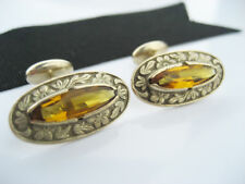 Antique Victorian Edwardian era Gold Aesthetic Floral Emboss Gemstone Cufflinks
