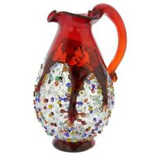 GlassOfVenice Murano Glass Millefiori Art Glass Carafe - Red