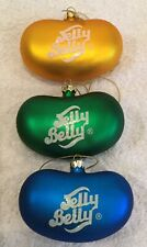 """3 Jelly Belly Beans Candy Glass Ornaments Glittery Logo Lot 3.5"""" X 2"""" Blue Green"""