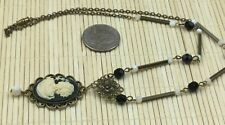 Carved Lady Black Cream Brass Mop Sizzle Pop Jewelry Design Necklace Cameo Resin