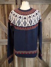 BELLFIELD Classic Knit Long Sleeve Navy Crewneck Sweater size M
