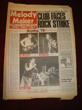MELODY MAKER 1978 SEPT 2 MARQUEE CLUB SHAM 69 TOM ROBINSON JAM YES BUDDY HOLLY