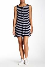 NWT WYLD HART MINI SHIFT RIBBED STRIPE LACE UP DRESS SIZE S BLACK GREY