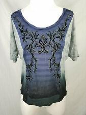 Miss Me Blue Gray Rhinestone Stud Damask Dolman Sleeve Scoop Neck Shirt sz S