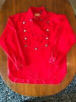 Scully Wahmaker Red Brushed Twill Cotton Bib Western Shirt Men's Size XL