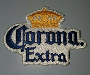 """CORONA EXTRA YELLOW AND BLUE EMBROIDERED IRON ON PATCHES 3.25"""" X 2.25"""""""