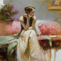 CHOP1417 charm 100% hand painted girl sitting on sofa oil painting art on canvas