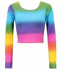 NEW WOMENS RAINBOW STRIPE PRINT MULTI COLOUR LONG SLEEVE LADIES JERSEY CROP TOP