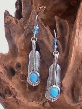 native american earrings silver turquoise large blessed by native american sage