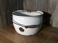 Antique White Enamel Large Pot Cauldron Stock Pot Planter Or Decor F6