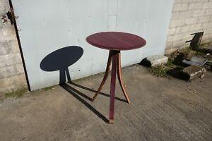Wine-stained French Oak Barrel Bar/End Table, Bespoke & Minimalist Design.