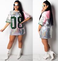 Fashion Womens Summer Loose Long T shirt Sequin Skateboard Tee Top Summer Blouse