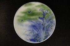 BLOWING INK FLOWER AND BIRD PATTERN LARGE PLATE