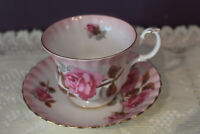 BEAUTIFUL ROYAL ALBERT TEA CUP AND SAUCER PINK CABBAGE ROSE