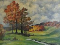 Heinrich Wilhelm WULFF (1870-1958) Gemälde 1939 HERBST, BÄUME,  HÜGEL u BACHLAUF